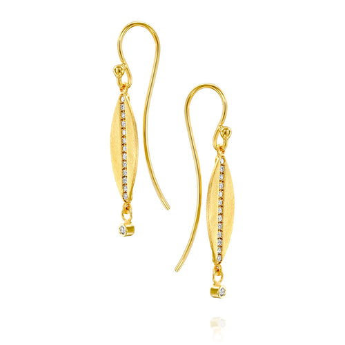6684 - 14kt unique brushed yellow gold diamond drop earring,
