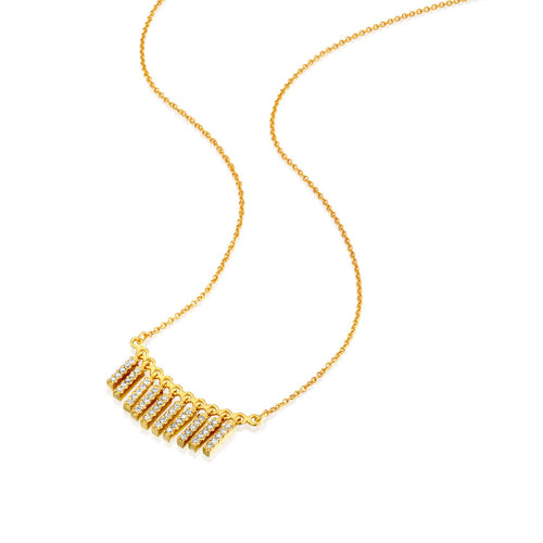 6687 - 14k yellow gold pave tassel necklace