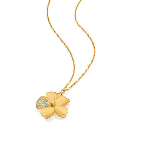 7065 - 14kt yellow gold special engraving pave diamond flower necklace