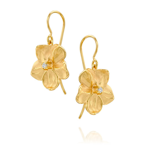 7068 - fabulous special engraving diamond flower drop earring in 14kt yellow gold matte finish
