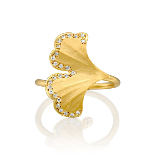7081 - 14kt yellow gold ginkgo leaf design ring with 0.13cttw white diamonds of the finest quality. beautiful matte texture with shiny edges.
