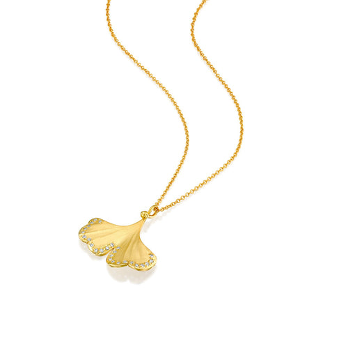 7088 - 14kt special engraving yellow gold & diamond ginkgo necklace