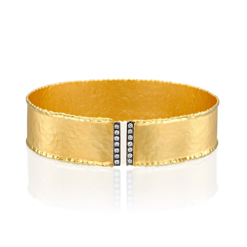 7144 - 14kt yellow gold hammered with torched edges cuff bracelet, white diamonds & black rhodium.