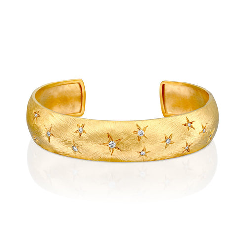 7166 - 14kt yellow gold special engraving stars diamond cuff bracelet