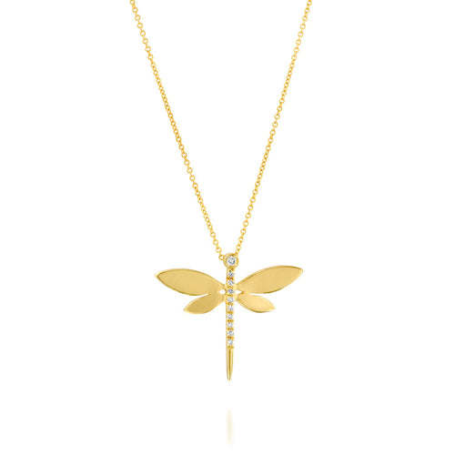 7219 - 14kt yellow gold matte & shiny diamond dragonfly necklace