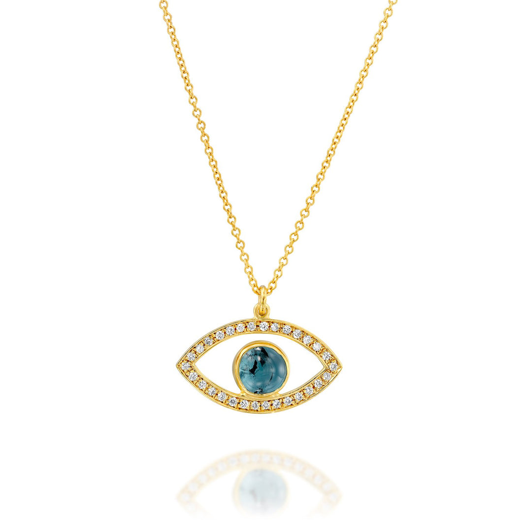 7233 - 14kt yellow gold blue tourmaline and diamond devil eye pendant