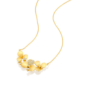 7262 - 14kt yellow gold matte satin diamond flower necklace