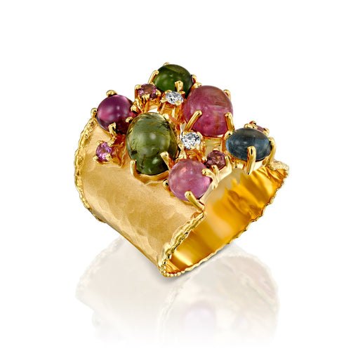 7302 - stunning 14kt handmade matte finish gold ring with shiny edges. mixed color natural cabochon tourmaline & faceted pink sapphires. .10cttw diamond of the finest quality.