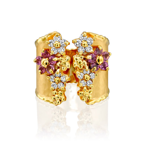 7307 - handmade elegant pink sapphires & white diamond ring, in 14kt hammered yellow gold with shiny torched edges