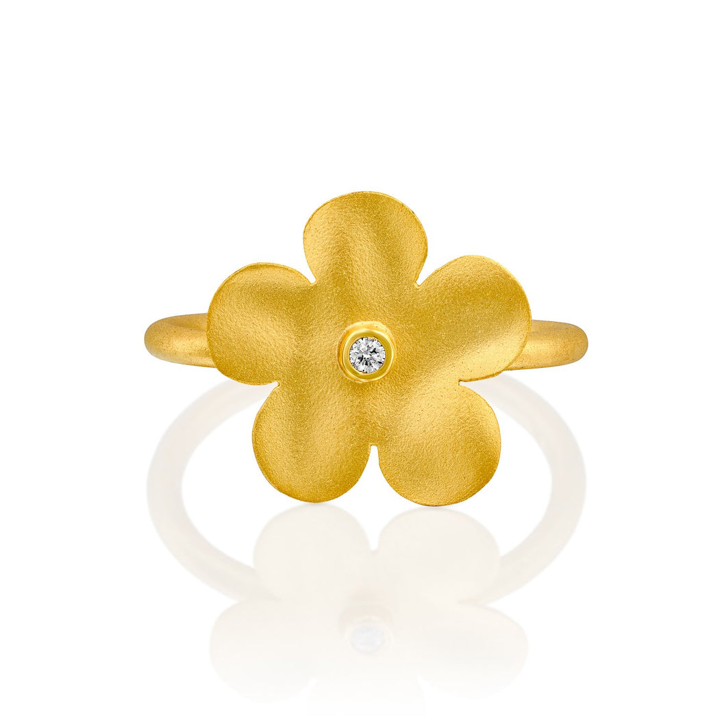 7320 - classic organic handmade flower ring in 14kt yellow satin-matte finish. the ring has a center 0.02cttw round brilliant cut white diamond in a bezel setting.