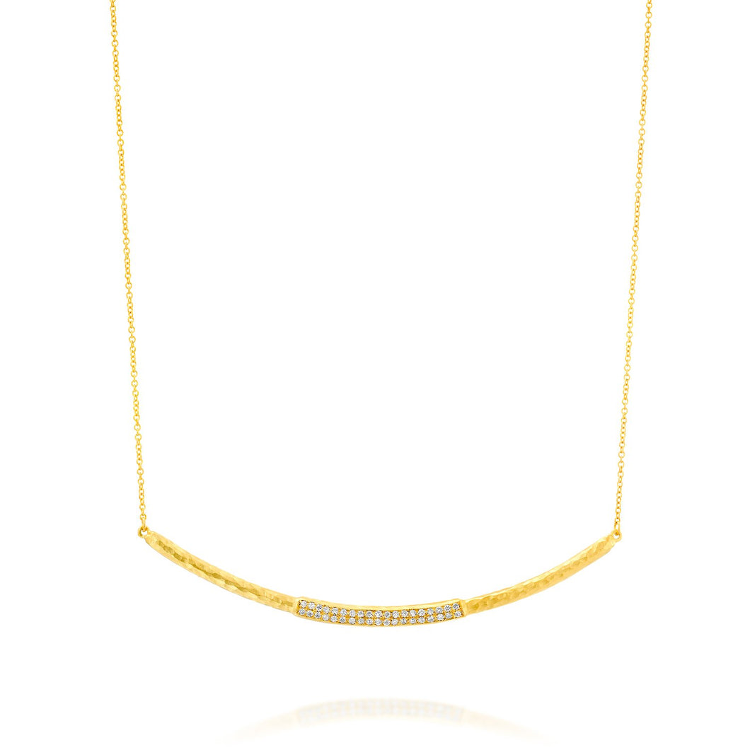 7414 - handmade textured 14kt yellow gold curved bar necklace with pave white diamonds