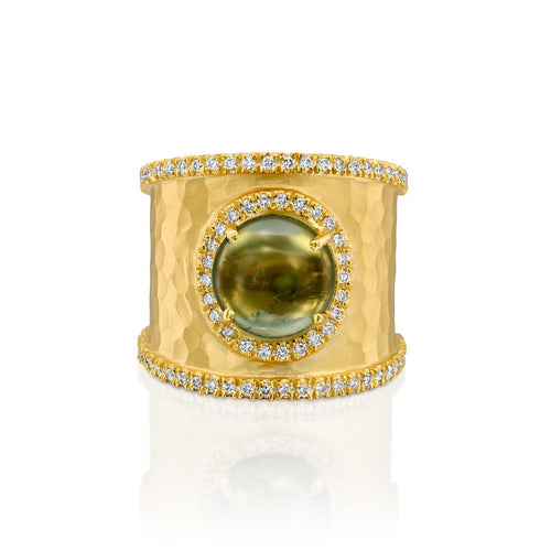 7451 - 14kt yellow hammered ring band, 9mm natural green rich round tourmaline cabochon. .38cttw of round brilliant cut white diamond.