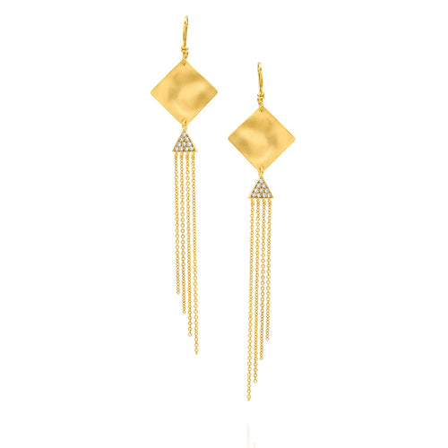 7454 - modern silky gold & pave diamond chain drop earrings in 14kt yellow