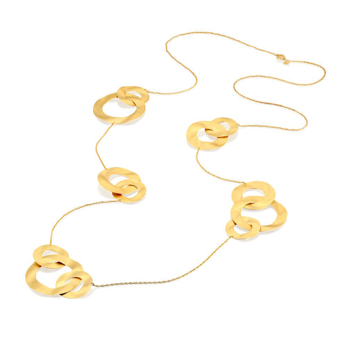 7470 - 14kt handmade yellow wavy matte &satin long gold link necklace