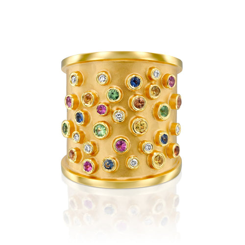 7523 - 14kt handmade matte finish yellow gold ring with shiny edges. beautiful mixed multi-colored sapphires in a bezel settings, 0.09cttw diamond