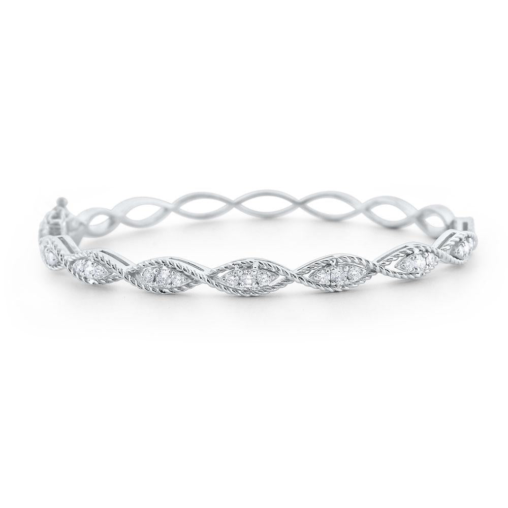 b6026 kc design diamond marquise twist bangle set in 14 kt. gold