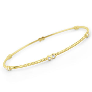 b6178 kc design diamond station bangle set in 14 kt. gold