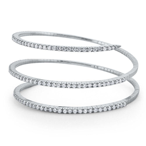"b6551 kc design diamond ""slinkie"" spiral wrap bracelet set in 14 kt. gold"