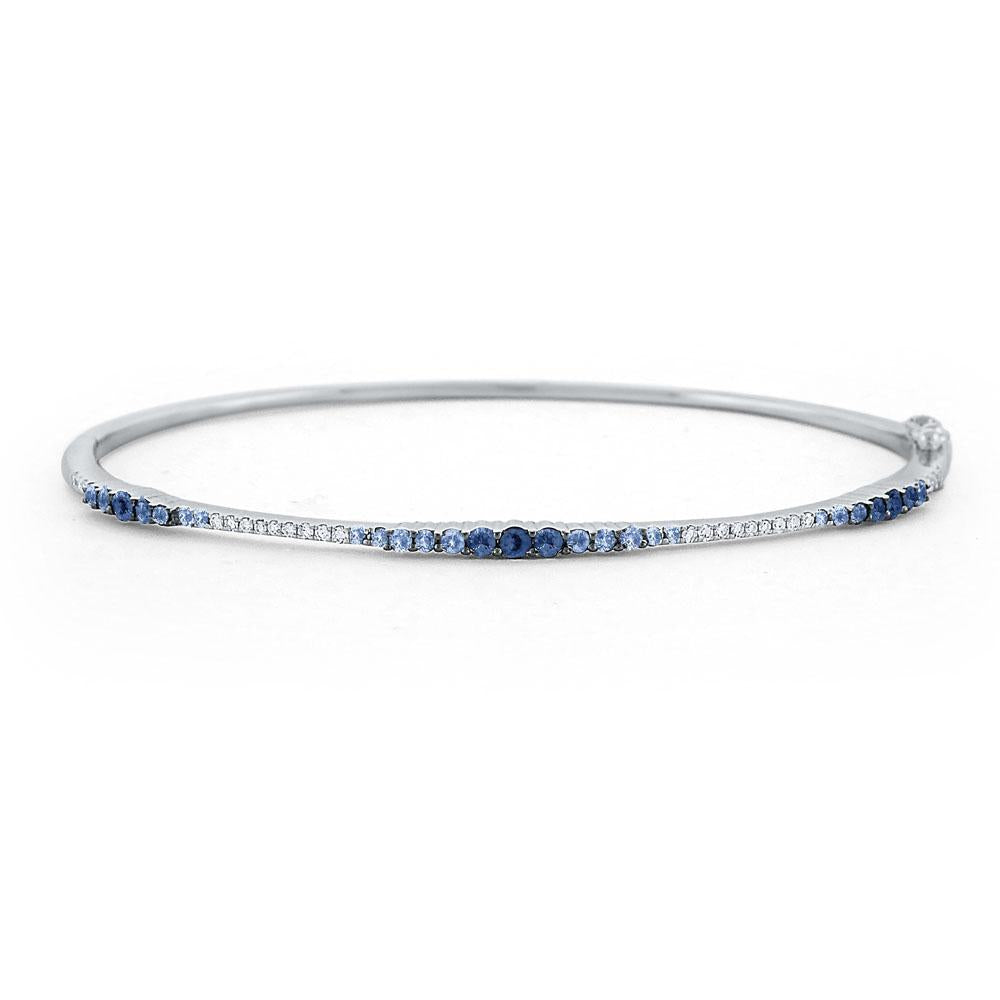 b7144 kc design blue sapphire & diamond ombré bangle set in 14 kt. gold