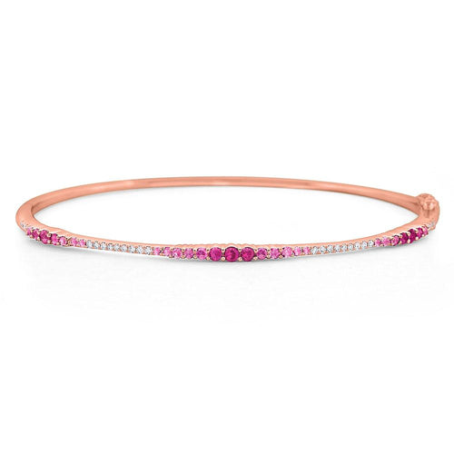 b7149 kc design pink sapphire & diamond ombré bangle set in 14 kt. gold