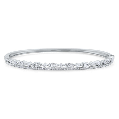 b7524 kc design diamond double line miracle marquise bangle set in 14 kt. gold