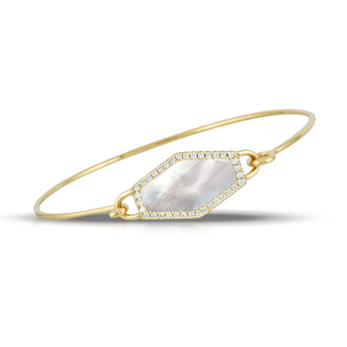 doves white orchid collection 18k yellow gold diamond bangle B7703WMP