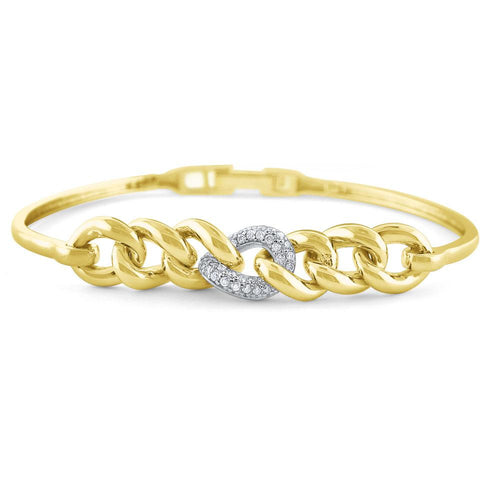 b7882 kc design 14k gold and diamond chain link flexible bracelet