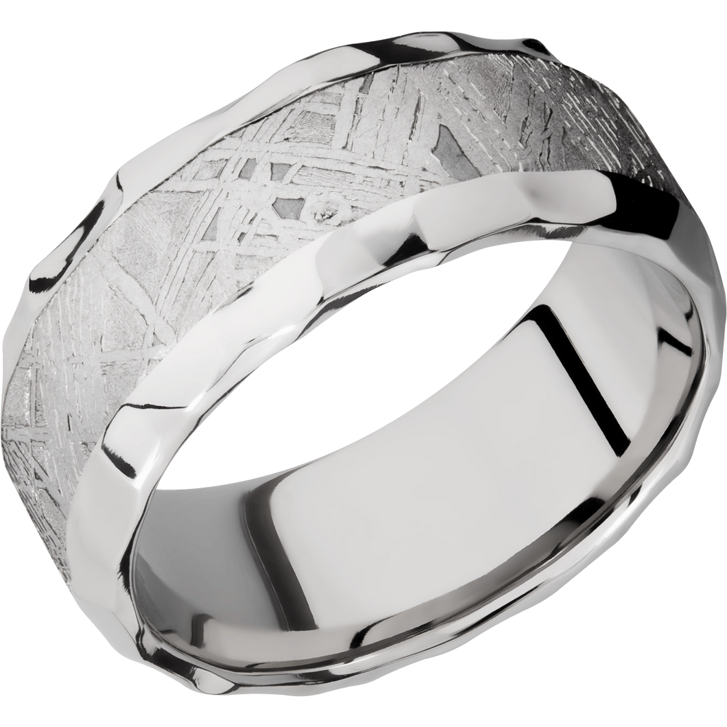 Meteorite Wedding Band With Rock Polish Finish