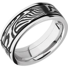 Load image into Gallery viewer, Damascus Wedding Band With Acid & Polish Finish