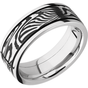 Damascus Wedding Band With Acid & Polish Finish