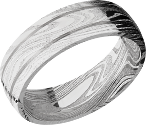 lashbrook damascus handmade 7mm marble damascus steel domed band