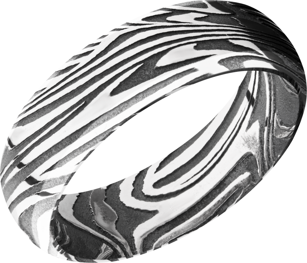 lashbrook damascus handmade 7mm sunset damascus steel domed band
