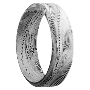 Damascus Wedding Band With Bead Finish