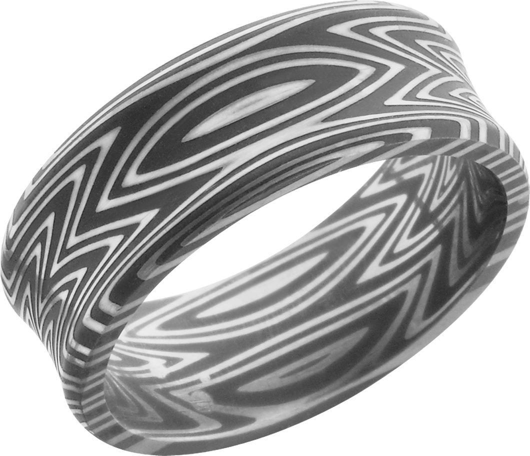 lashbrook damascus handmade 8mm zebra damascus steel band