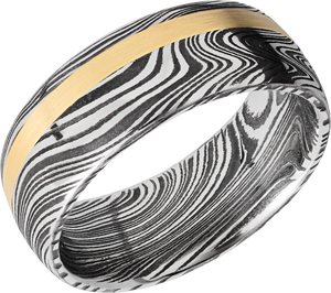 lashbrook damascus handmade 8mm marble damascus steel domed band