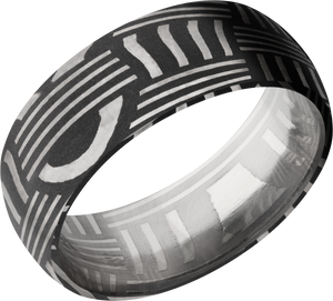 lashbrook damascus handmade 8mm basketweave damascus steel domed band