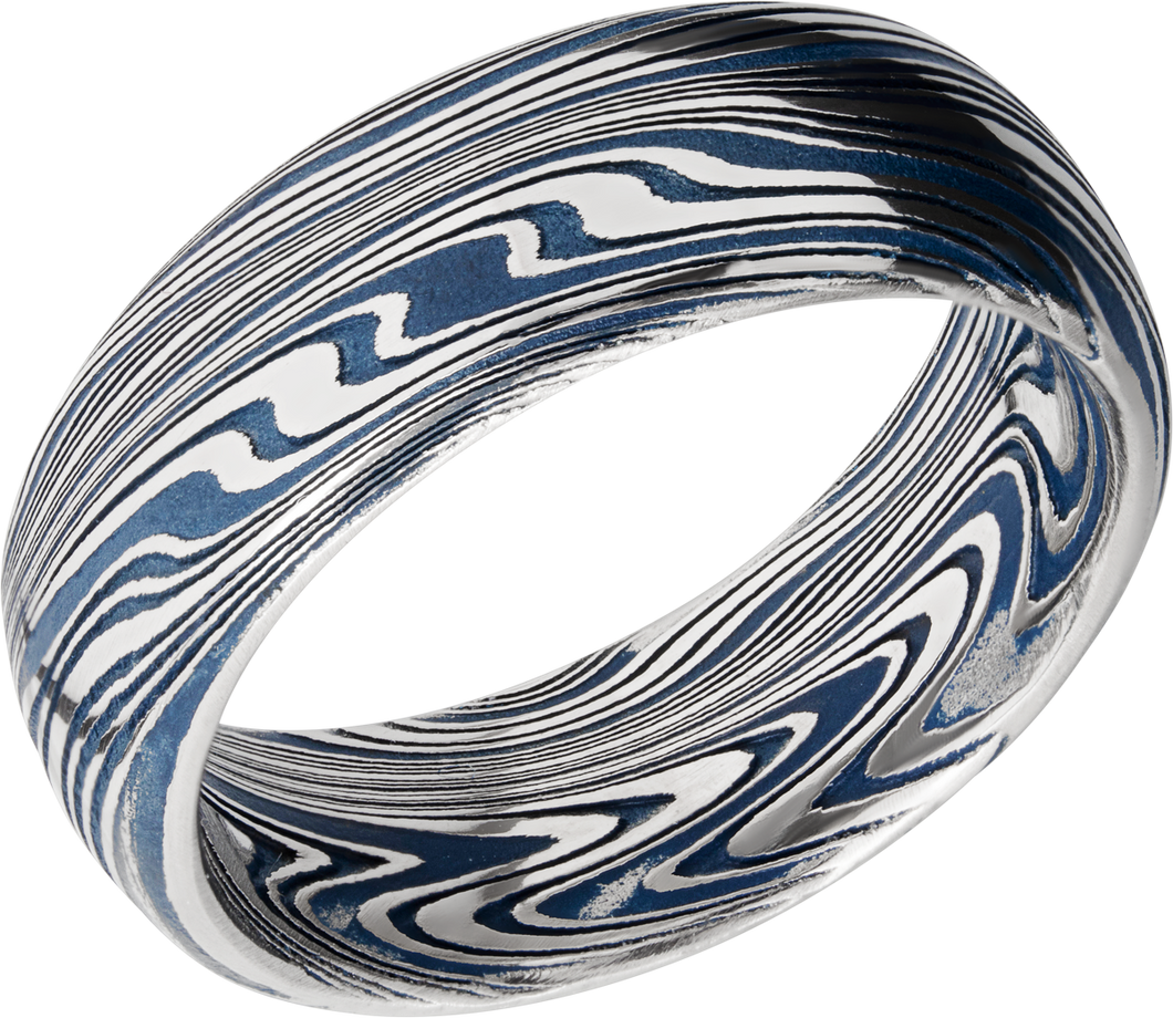 Lashbrook Marble Damascus Steel 8Mm Domed Band