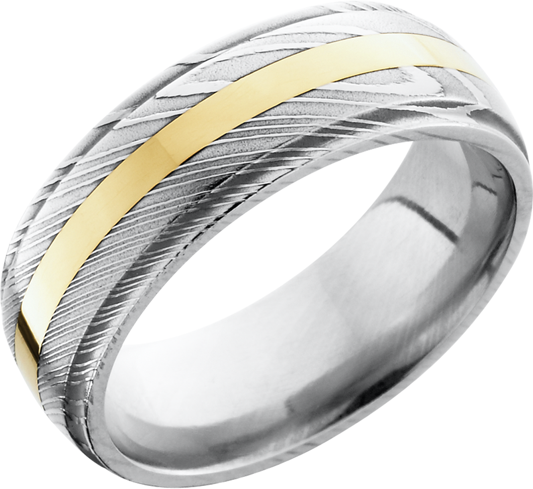 lashbrook damascus handmade 8mm damascus steel domed band