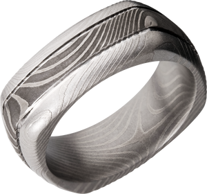 lashbrook damascus handmade 8mm flattwist damascus steel square domed band