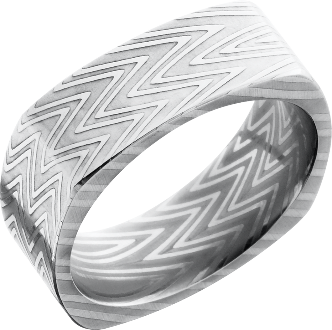 lashbrook damascus handmade 8mm zebra damascus steel flat square band