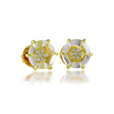 frederic sage gemstone studs white topaz yellow gold earrings e2219-ygwt stud earrings