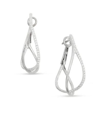 frederic sage diamond hoops white gold earrings e2403-w diamond crossover hoop earrings