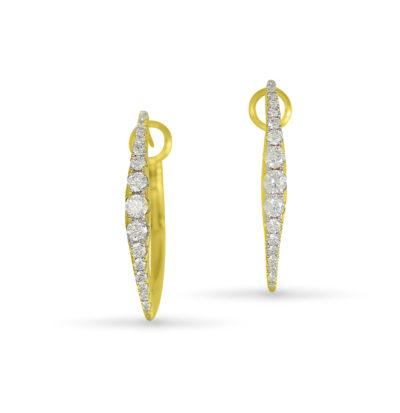 frederic sage diamond hoops yellow gold earrings e2427-yw marquise hoop earrings