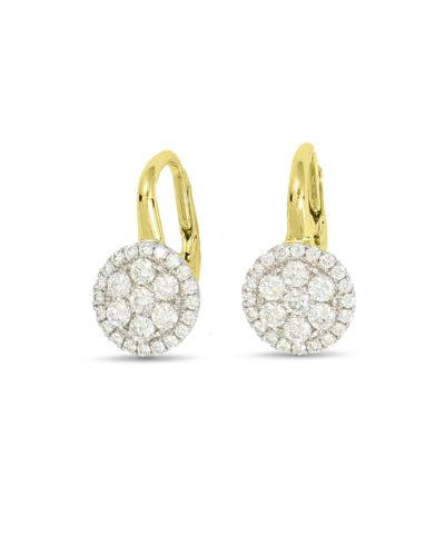frederic sage diamond yellow gold earrings e2460-yw diamond cluster drop earrings