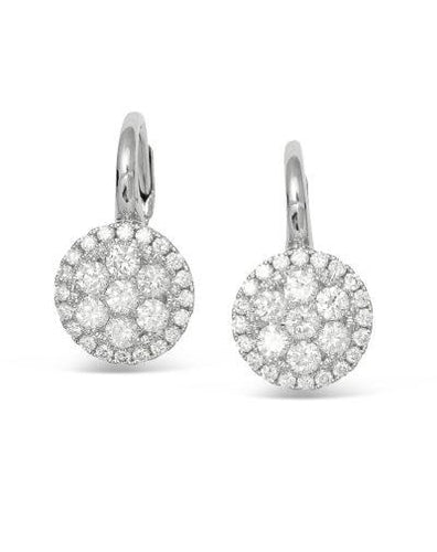 frederic sage diamond white gold earrings e2464-w diamond cluster drop earrings
