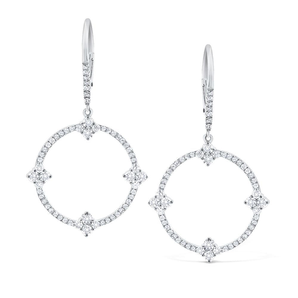 e5914 kc design diamond circular frame earrings set in 14 kt. gold