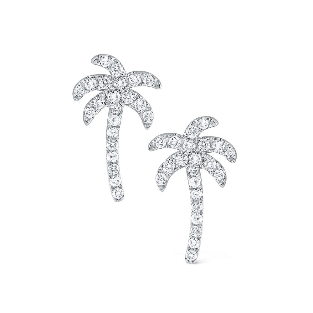 e6070 kc design diamond palm tree earrings set in 14 kt. gold