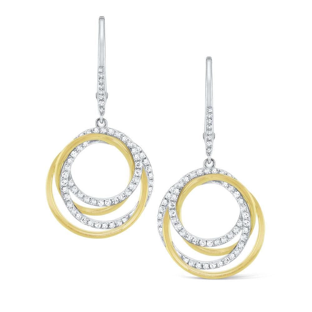 e6122 kc design diamond intertwined circle earrings set in 14 kt. gold