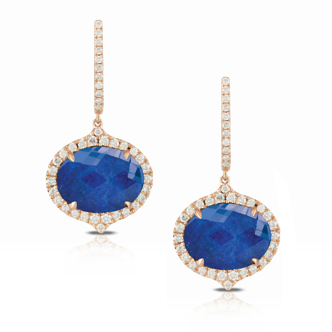 doves royal lapis collection 18k rose gold diamond earring E6232LP