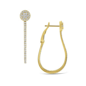 e6367 kc design diamond oblong hoop earrings set in 14 kt. gold